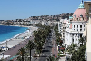 This picture taken on July 15, 2016, shows the site where a truck drove into a crowd watching a fireworks display on the Promenade des Anglais seafront near the Negresco Hotel in the French Riviera town of Nice on July 15, 2016.